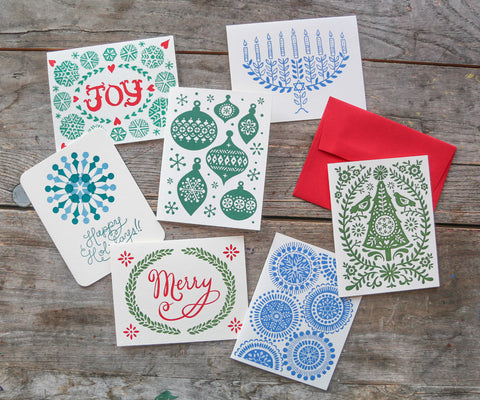 Holiday Greeting Cards, set of 12, blank inside - special price!