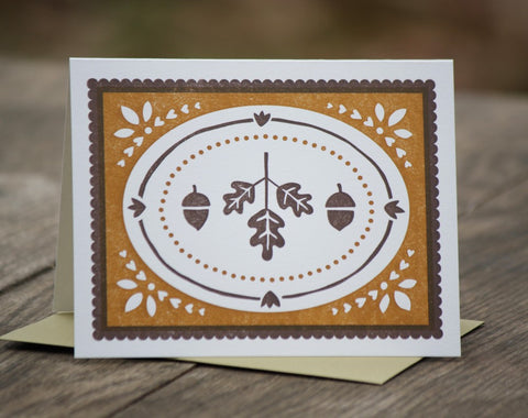acorns and oak leaves card, blank inside