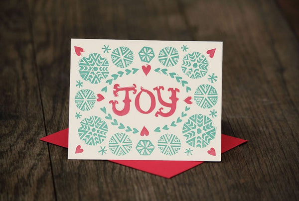 JOY block printed holiday greeting card, blank inside