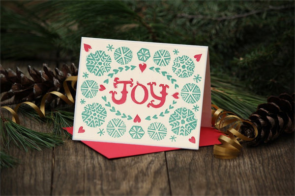 Wholesale - JOY block printed holiday greeting card, blank inside