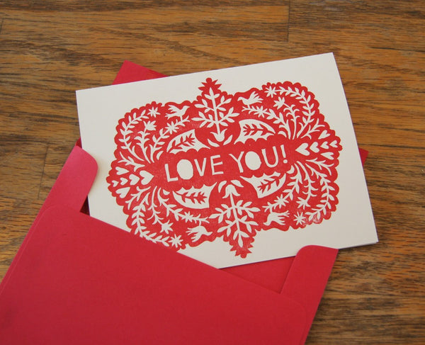 block-printed LOVE YOU greeting card