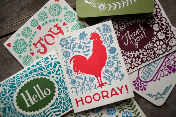 variety pack of five letterpress greeting cards