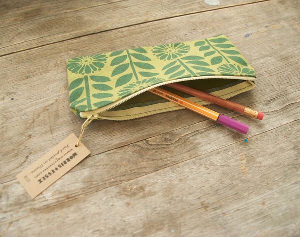 canvas zipper pouch, green hand-printed flower chain pattern