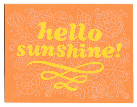 Hello Sunshine greeting card, blank inside