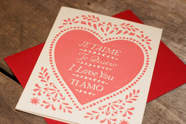 hand-printed JE T'AIME greeting card, blank inside