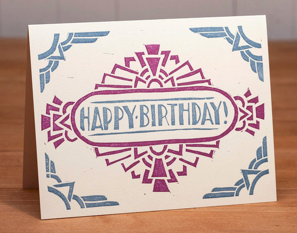 Block-printed geometric Birthday card