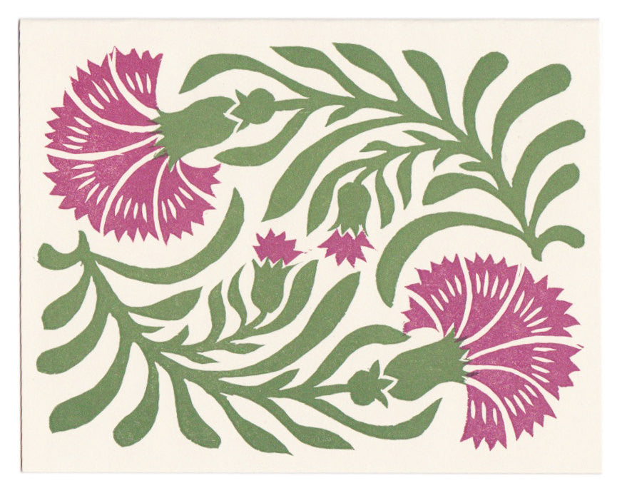 Wholesale - Dianthus linocut greeting card, blank inside