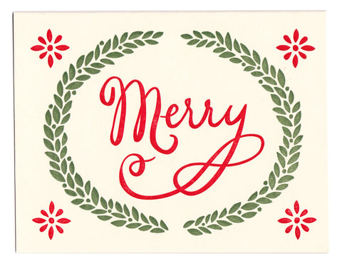 Wholesale - Merry holiday greeting card, blank inside - MEGC-0100 / MEGC-0101