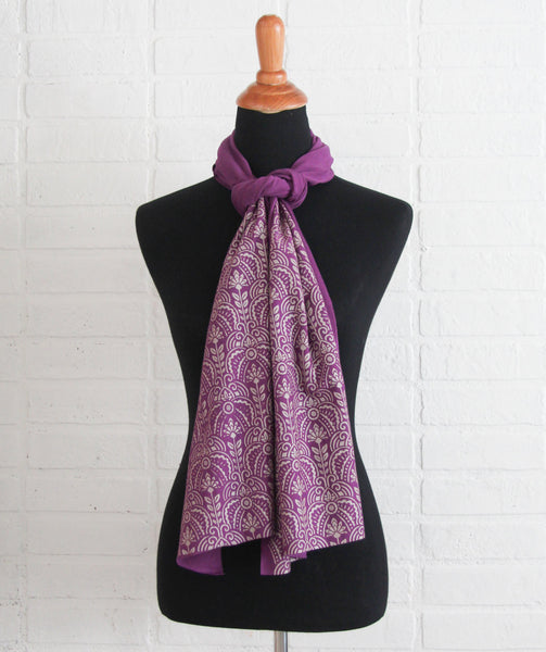 Soft purple bamboo scarf with hand-printed Art Deco floral pattern