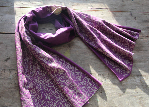 hand-printed purple scarf with gold art deco floral pattern, handmade in Maine by Morris and Essex