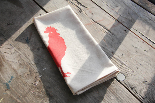 Hand-Printed Rooster Cotton Tea Towel with hanging loop