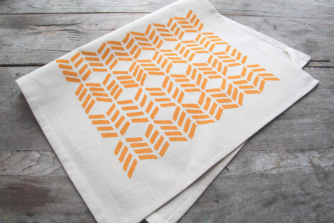 Wholesale - MEP-0015 - Hand-Printed Yellow Chevrons Cotton Tea Towel with hanging loop