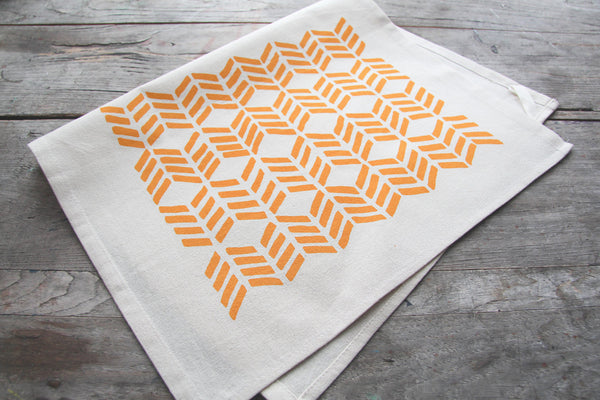 Hand-Printed Yellow Chevrons Cotton Tea Towel with hanging loop
