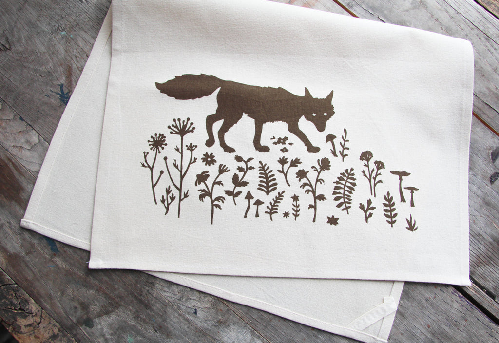 Wholesale - MEP-0012 - Hand-Printed Sly Fox Cotton Tea Towel with hanging loop