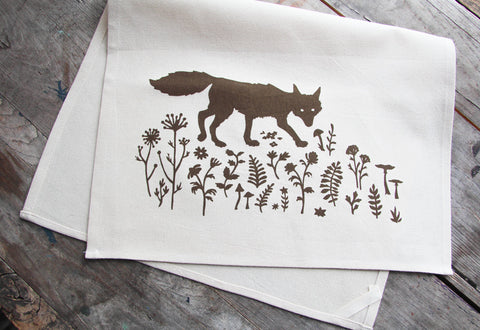 Hand-Printed Sly Fox Cotton Tea Towel with hanging loop