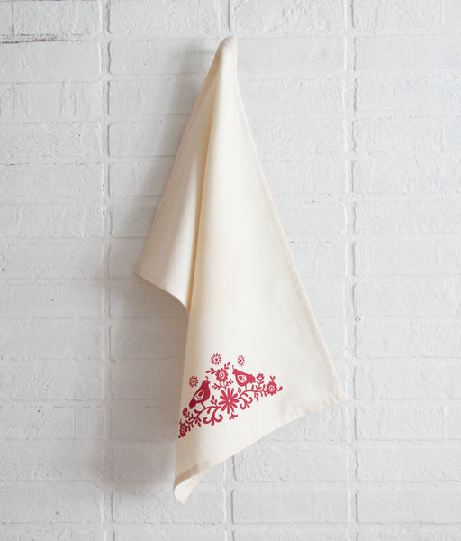 SOLD OUT - Wholesale - MEP-0016 - Hand-Printed Folky Birds Cotton Tea Towel with hanging loop