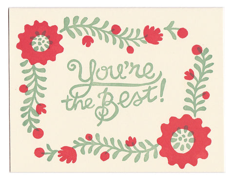 You're The Best - block printed greeting card