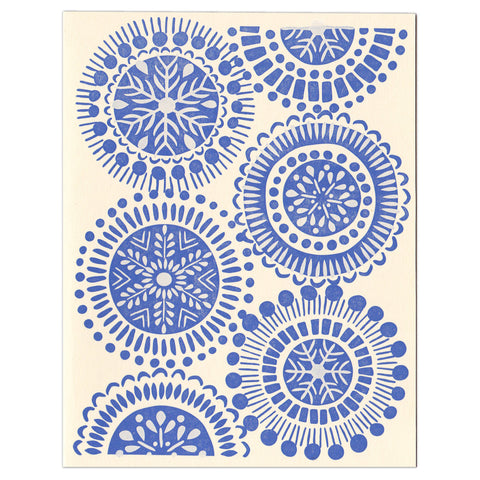 Wholesale - Blue Snowflakes letterpress greeting card
