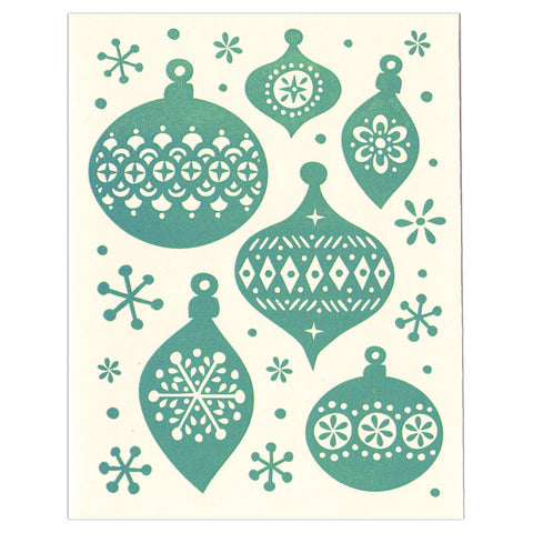 Holiday Ornaments greeting card, blank inside