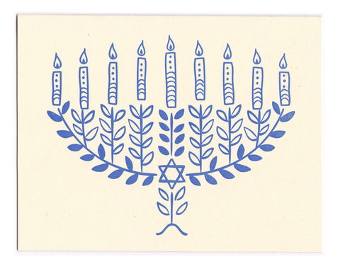 Hannukah Menorah greeting card - blank inside