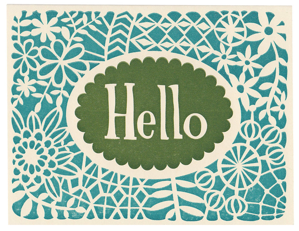 Wholesale - handmade Hello greeting card, blank inside