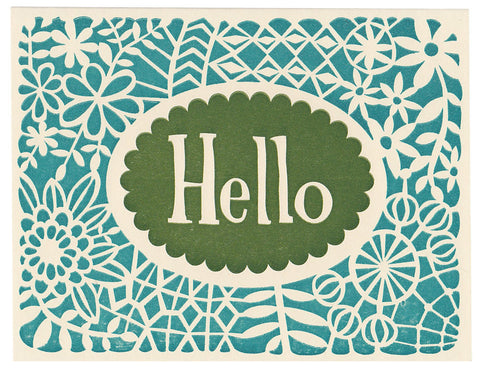 Hello greeting card, blank inside