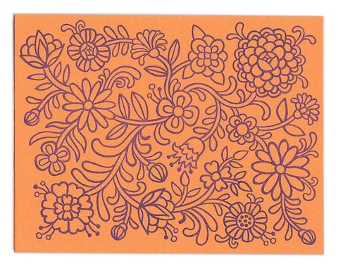 Orange Flower Power greeting card, blank inside
