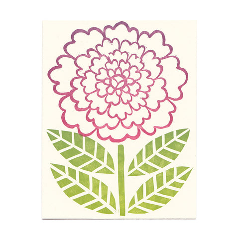 block-printed Zinnia flower greeting card