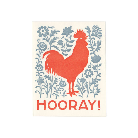 HOORAY rooster greeting card, blank inside
