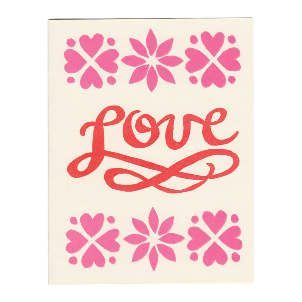 LOVE script block-printed greeting card, blank inside