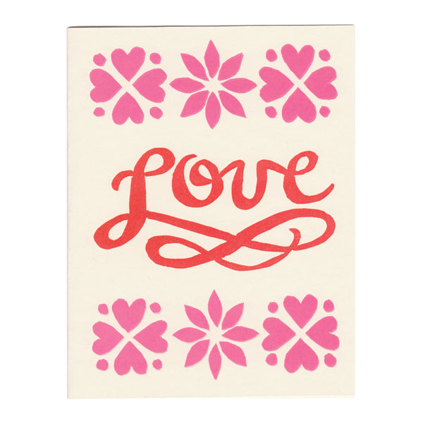 Wholesale - LOVE script block-printed greeting card, blank inside. MEGC-0102 / MEGC-0103