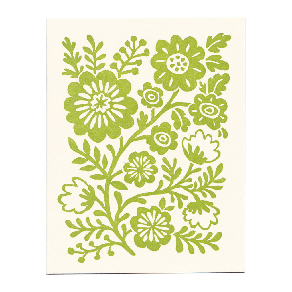 Spring Green Flower Vine linocut greeting card