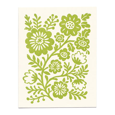 Wholesale - Spring Green Flower Vine linocut greeting card