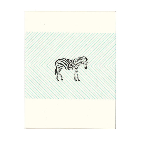 Wholesale - Zebra letterpress greeting card, blank inside - MEGC-0024/MEGC-0025