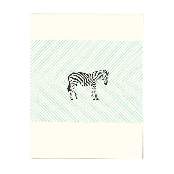 Zebra letterpress greeting card, blank inside