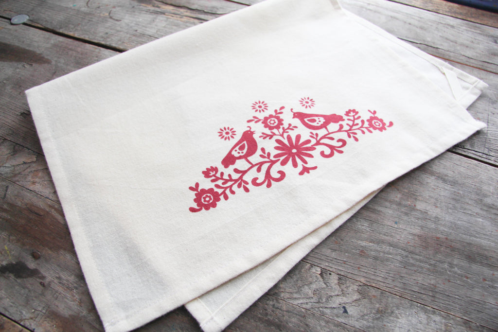 Hand Printed Folky Birds Cotton Tea Towel With Hanging Loop