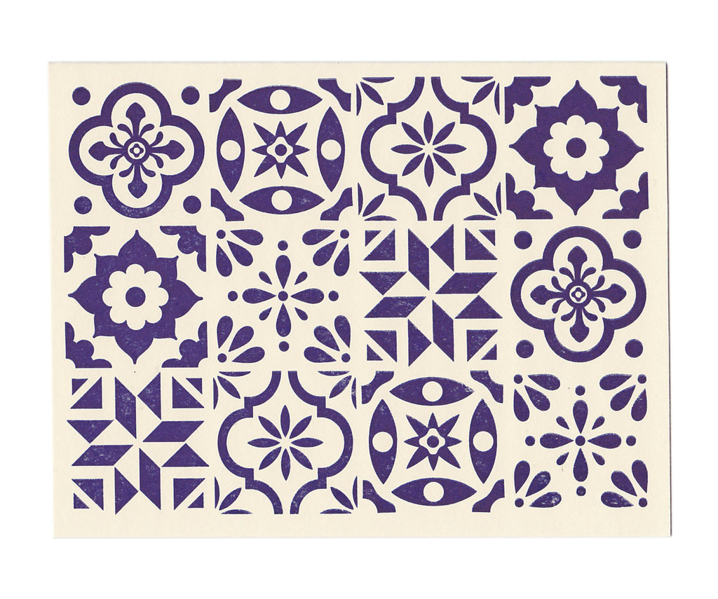 Blue Spanish Tile note card, blank inside