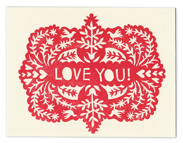 Wholesale - Block-printed LOVE YOU greeting card