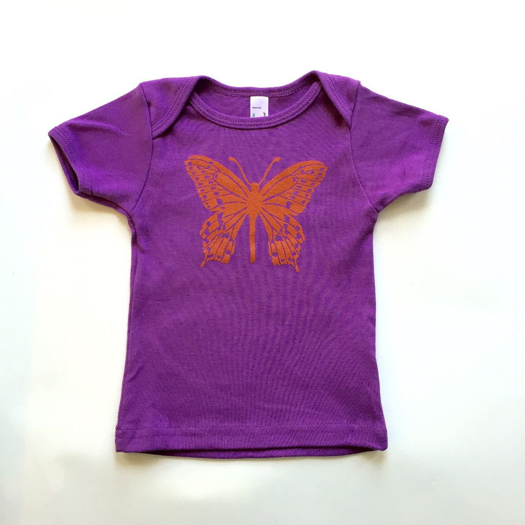 hand-printed organic cotton butterfly tee for baby and toddler. girls, kids, purple, pink, orange, handmade, gifts, made in maine, nature