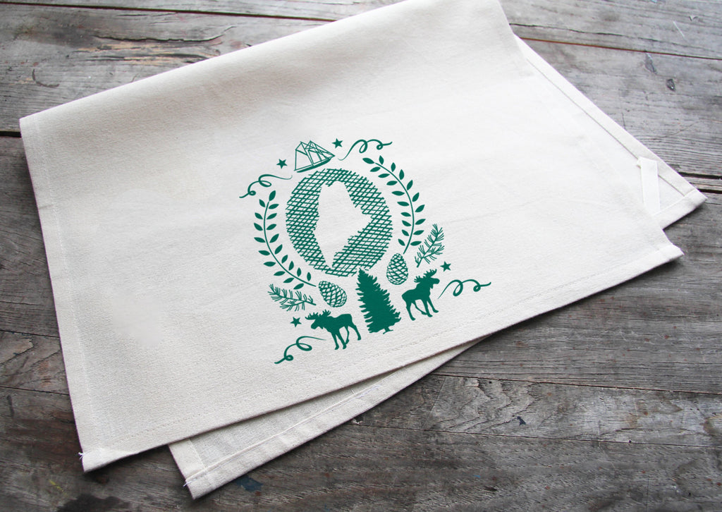 Wholesale - MEP-0025 - Hand-Printed Maine State Cotton Tea Towel with hanging loop