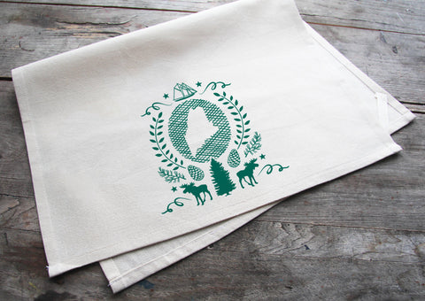 Hand-Printed Maine State Cotton Tea Towel with hanging loop