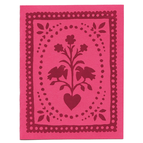 Pink Folk Art greeting card, blank inside