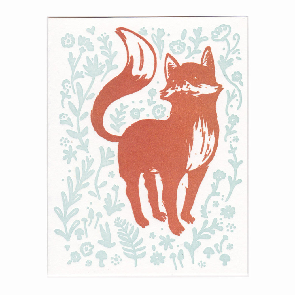 Fox letterpress greeting card, blank inside
