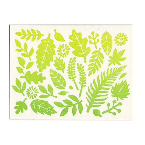 Leaves Pattern greeting card, blank inside