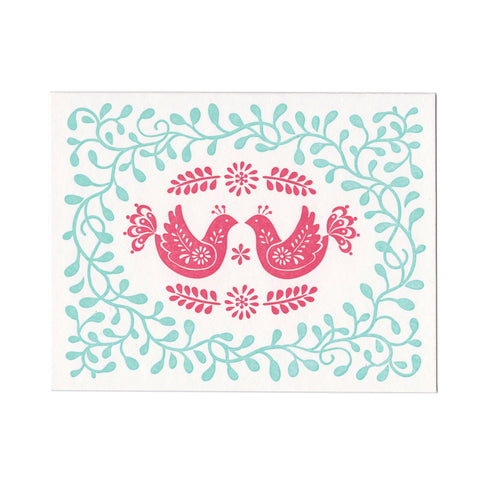 Red Birds letterpress greeting card, blank inside