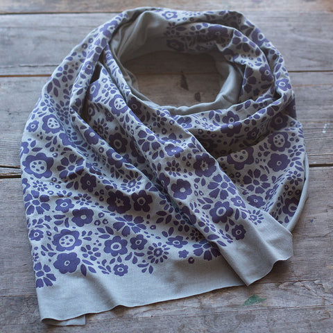 Soft grey bamboo scarf with hand-printed purple Mayflowers pattern