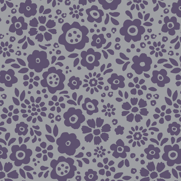 Wholesale - Soft grey bamboo scarf with hand-printed purple Mayflowers pattern