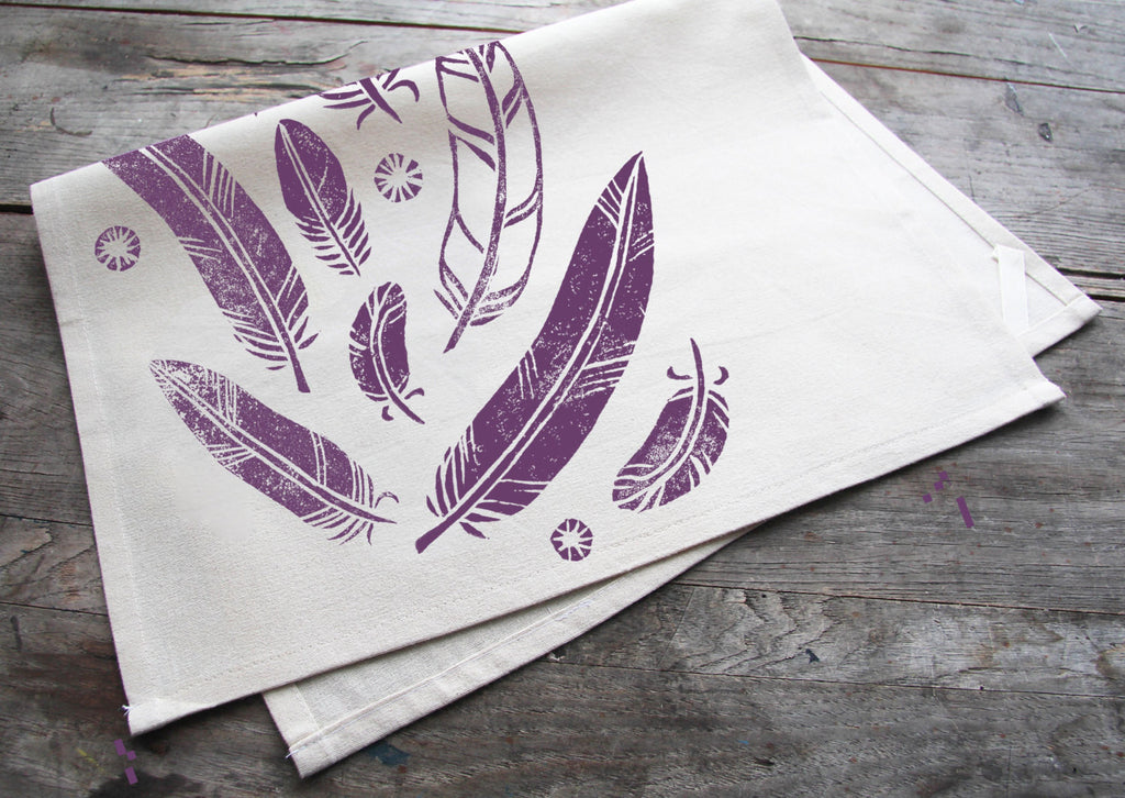 Hand-Printed Purple Feathers Cotton Tea Towel with hanging loop