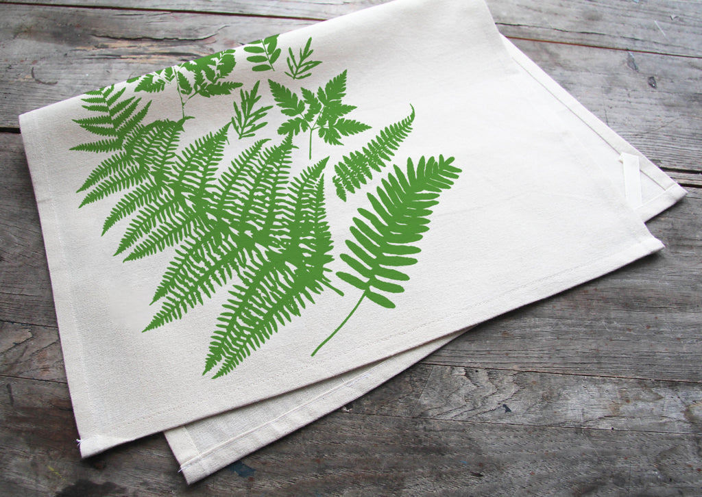 Wholesale - MEP-0024 - Hand-Printed Forest Ferns Cotton Tea Towel with hanging loop