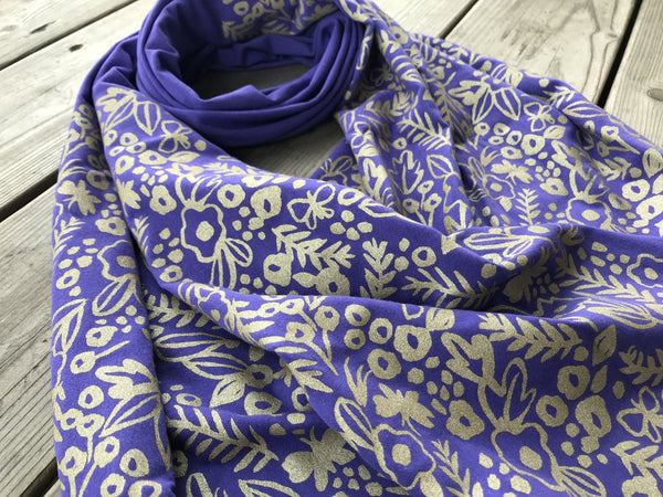 Wholesale - Violet bamboo scarf with hand-printed gold Watercolor pattern - MES-038